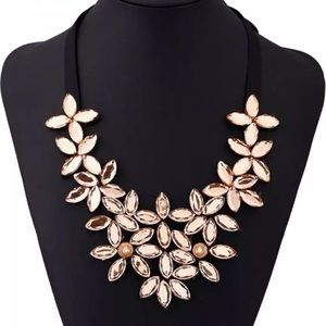 Jewelry - Gold Crystal Flower Black Ribbon Necklace